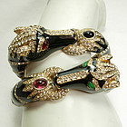 Pair 1960s Ciner Enameled Jeweled Horse Form Bracelets