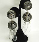 Statement 1990 French Filigree Lucite Drop Earrings