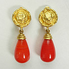 1980s Deanna Hamro Tangerine Gripoix Glass Earrings