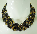 50s Signed Miriam Haskell Black Glass Necklace 4 Strand