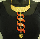 70s Kenneth Lane Runway Nomadic Necklace Faux Coral