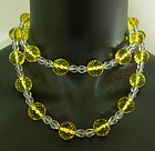 20s Deco Rock Crystal Citrine Glass Necklace 14K Clasp