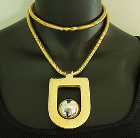 1970 Lanvin Paris Necklace Large Pendant on Snake Chain