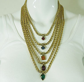 80s Unsigned Yves Saint Laurent Tiered Jeweled Necklace