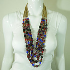 Huge 1970s French Poured Glass Necklace Jewel Tones
