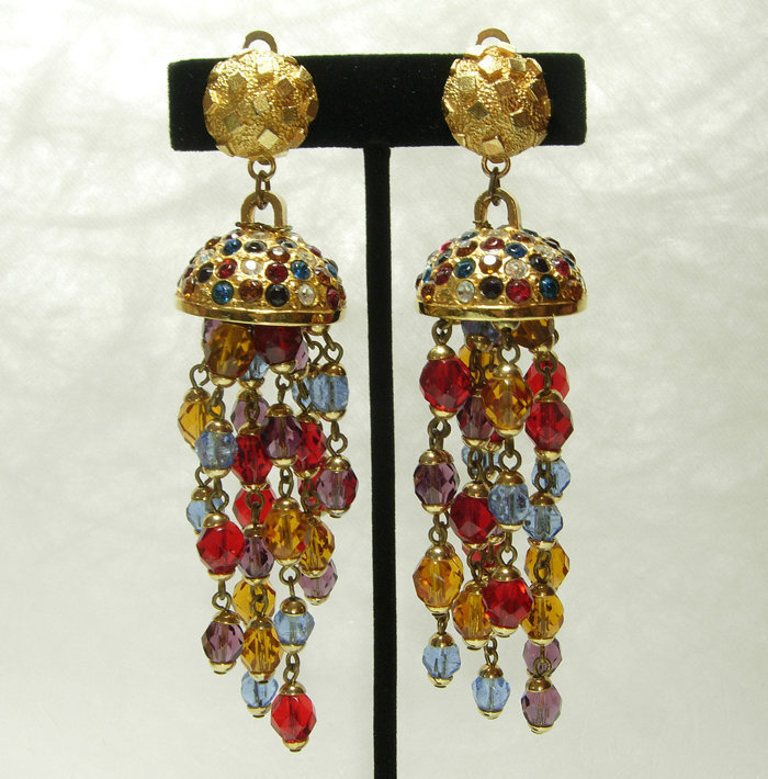 1980s French 4+ Inch Wired Glass Rhinestone Earrings Jewel Tones