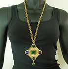 1980s Isabel Canovas Necklace Green Blue Gripoix Poured Glass