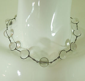 30s Art Deco Pools of Light Rock Crystal Necklace Undrilled Silver