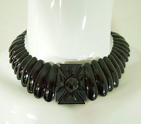 Antique Victorian Whitby Jet Necklace Carved Centerpiece