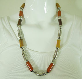 French Art Deco Modernist Chrome Amber Bakelite Necklace