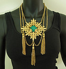 1970 Napier Huge Renaissance Festoon Necklace Faux Malachite Stone