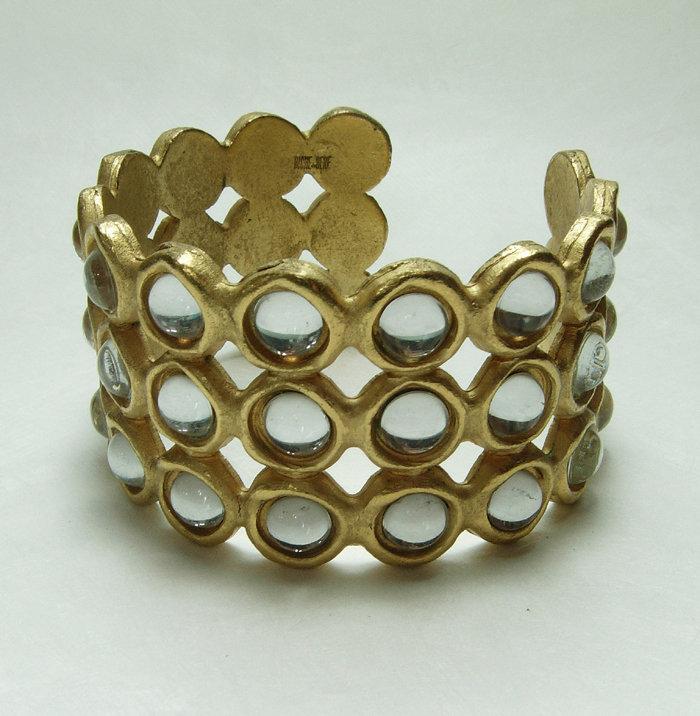 1990 Biche de Bere France Modernist Runway Bracelet Mirrored Stones