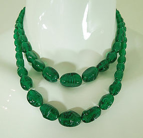 Pair 1930s Green Gripoix Poured Glass French Beaded Necklaces