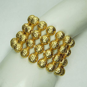 1980s Napier Runway Hammered Studs Heavy Statement Bracelet