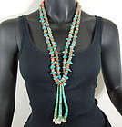 Big Vintage Santo Domingo Turquoise Spiny Oyster Necklace Long Jaclas