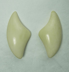 Vintage Signed Monies Carved Bone Modernist Earrings