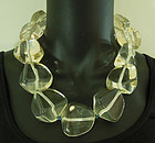 Huge Couture Clear Lucite Statement Size Monies Style Necklace