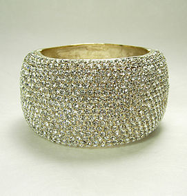 1980s Huge Couture Pave Crystal Strass Cuff Bangle Bracelet