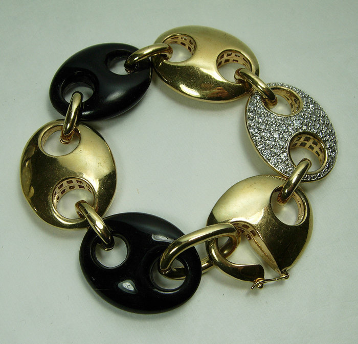 1980s Couture Bracelet Nautical Links Black Gold Strass