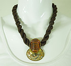 1980s Fabrice Paris French Tribal Style Leopard Jasper Necklace