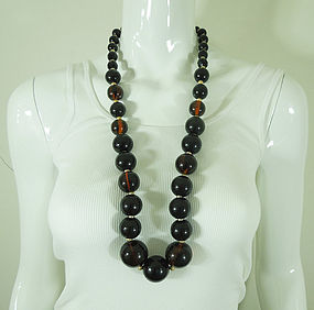 1970s Huge Statement Dark Amber Lucite Matte Goldtone Necklace