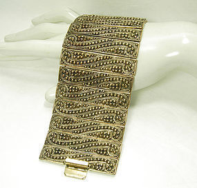 1970 Runway Wide Etruscan Revival Bracelet Granulated Motif