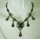 Antique Austro Hungarian Necklace Renaissance Style Green Pink Stones