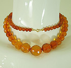 1940s Faceted Baltic Honey Amber Bead Necklace 46 Grams 31 Inches