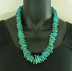 Vintage Very Big Santo Domingo Tab Turquoise Heishe Bead Necklace