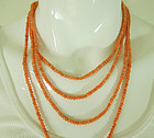 1920s Salmon Angel Skin Coral Bead Necklace Sautoir 78 Inches