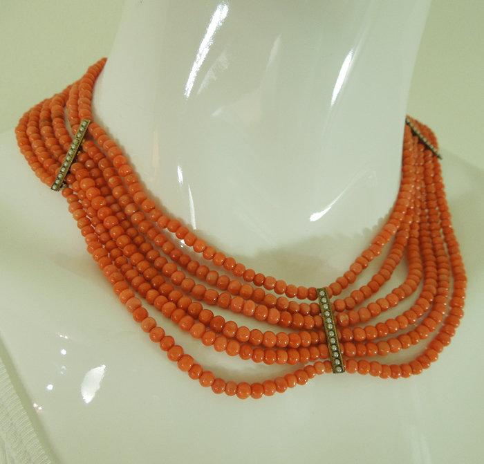 Victorian Salmon Coral Low Karat Gold Six Strand Festoon Necklace