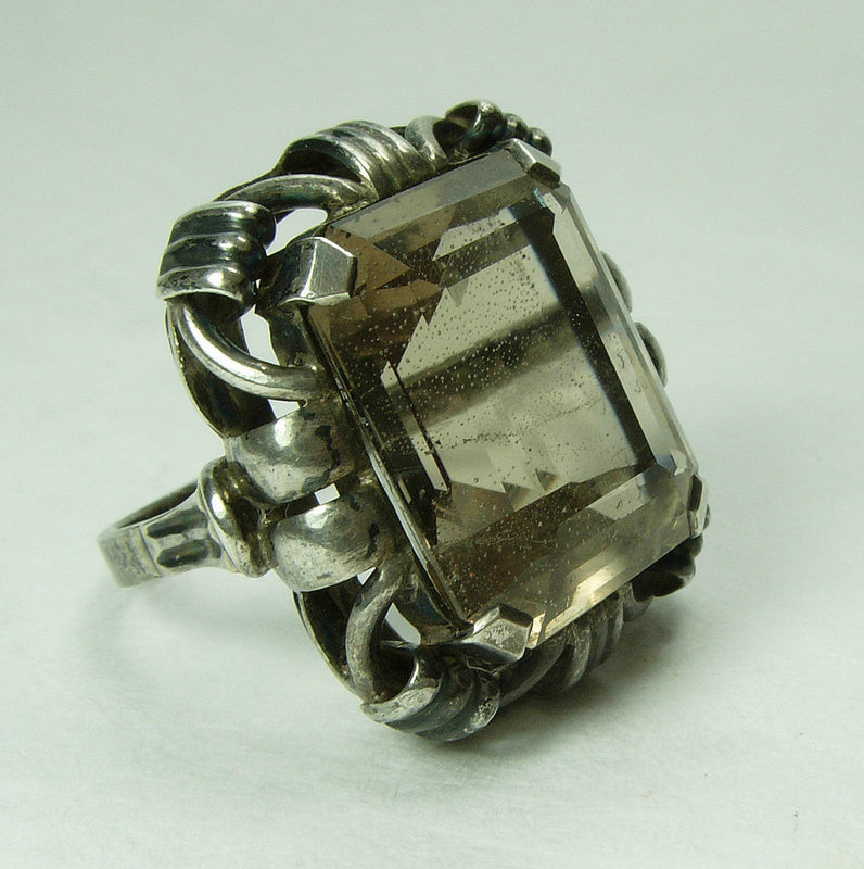 1920s Art Deco German 835 Silver Smoky Quartz Statement Ring