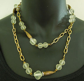 60s French Poured Glass Necklace Sautoir 39.5 Inches Chain Rondelles