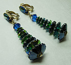 1960s Lewis Segal Earrings Vitrail Rivoli Peacock Blue Glass Beads
