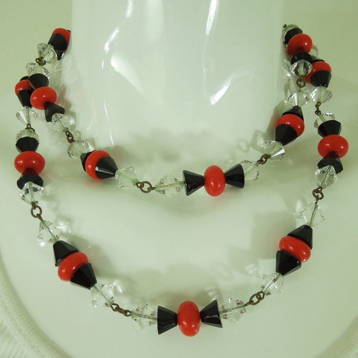 70s French Deco Revival Wired Glass Necklace Crystal Red Black 38 In.