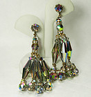1960s Chandelier Earrings Vitrail Glass Peacock Blue 3 Inches