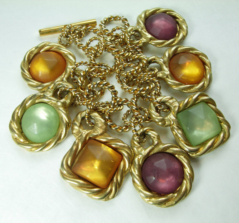 1980s Rodier Paris Charm Bracelet Poured Resin Green Amber Purple
