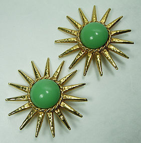 1980s Philippe Ferrandis Paris Green Poured Glass Earrings Runway