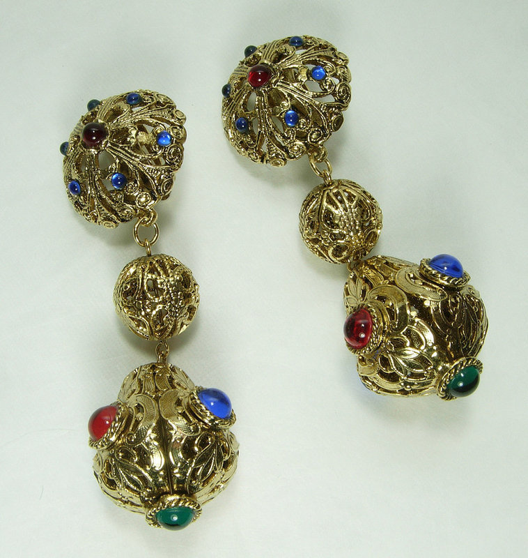 1970s Renaissance Style Jeweled Runway Earrings Gem Craft