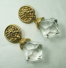 1980s French Runway Clear Lucite Earrings Sculpted Goldtone