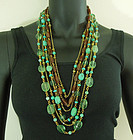 Stephen Dweck Chinese Carved Turquoise Flourite Bronze Necklace