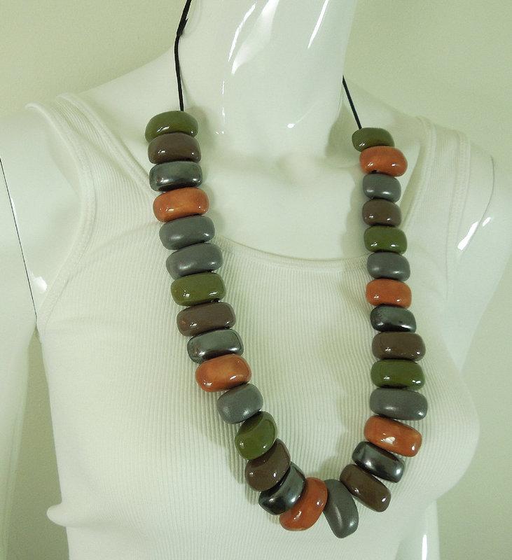 1970s Huge Studio Ceramic Necklace Glazed Beads Modernist