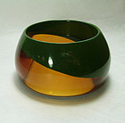 1980s French Couture Modernist Lucite Bracelet Laminated Green Honey