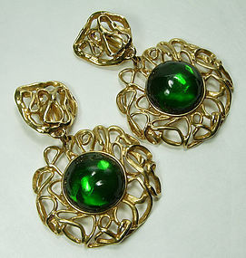 80s Yves Saint Laurent Huge Earrings Green Poured Resin Goossens