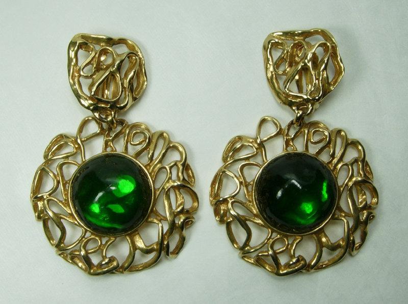 80s Yves Saint Laurent Huge Earrings Green Poured Resin Goossens