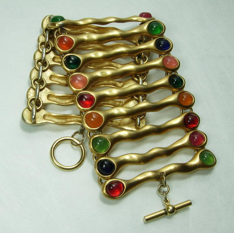 1980s French Huge Runway Modernist Bracelet Poured Resin Jewel Tones