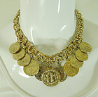 1970s Runway Heavy Byzantine Faux Coin Charm Bib Necklace