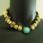 1980s French Modernist Necklace Aqua Poured Glass Wired Bead