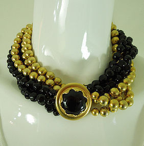 1970s Anne Klein Couture Black Glass Goldtone Necklace Statement Size