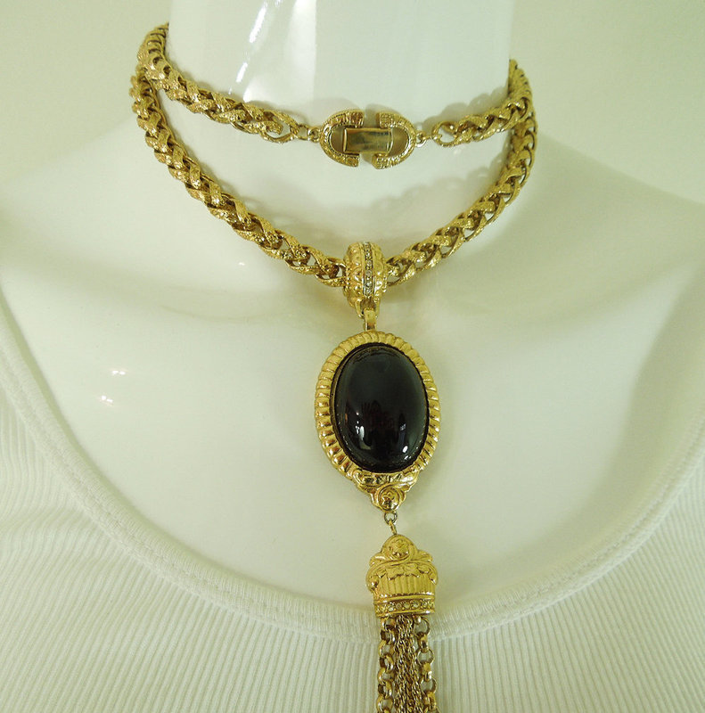 1970s Givenchy Runway Necklace Black Glass Pendant Byzantine Style